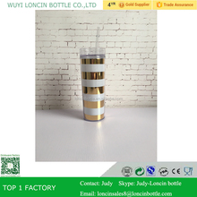 16oz Clear Acrylic Skinny Tumbler Double Wall with Lid and Straw, Metallic Gold and White Stripes Skinny Tumbler