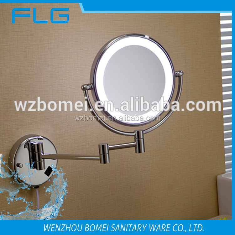 Metal Double Sides LED light 8 inch 3x magnification bathroom mirror