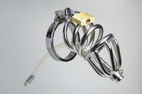 100% 304 stainless steel Male Chastity device cock cage with medical silicone urethral sound catether sex Products