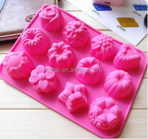 12pcs flower plants pddding cake muffin mold microwave silicone baking pan