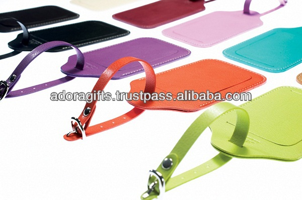 travel bright colored luggage tags / luxury leather luggage tags / leather golf bag tags with your logo