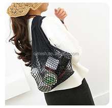 2018 popular products different colours shopping net tote beach cotton mesh bag