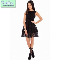 2015 New Elegant Sleeveless O-Neck Short Cocktail Party Dress