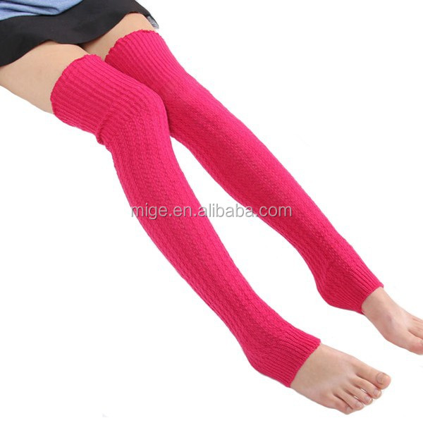 Korean Style Candy Color Leg Warmer Women Acrylic Knit Leg Warmers <strong>W003</strong>