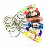 Custom printed acrylic charms/acryklic keychains/key ring, mini wine bottle shape mobile cell phone charms acrylic key chain
