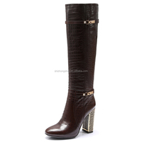 Brown Metal thick heeled high boots women sheep skin knee high heel boots