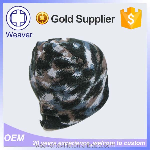 Wholesale 100% Cotton Beanie Camo Knit Hat for Adults