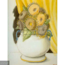 Handmade Fernando Botero still life oil painting, Sunflowers 1995