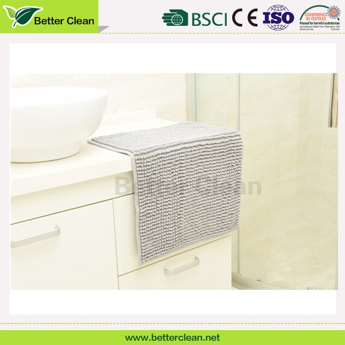 china manufacture home chenille microfiber square bathroom shower mat
