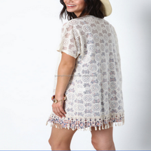 Spring Embroidered Fringe Lace Kimono Short Sleeve Small Women Coat