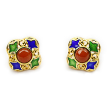 Chinese Traditional Vintage Handmade 925 Steling Silver Filigree Cloisonne Enamel Earring
