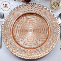 China embossed rose gold charger plates wholesale