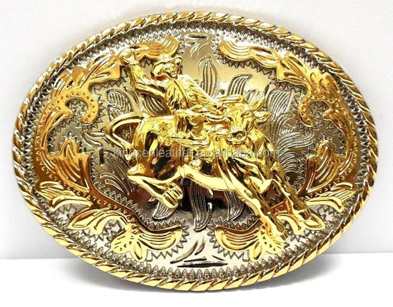 Classic Western Cowboy Style Bull Rider Oval Gold Rodeo Big Belt Buckle