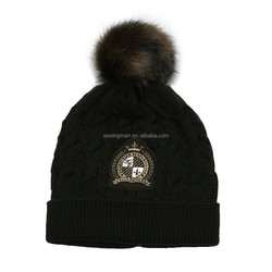 Cable Knitted Beanie Pom Pom Hat Leather Patch