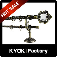 KYOK Mansion decorative hot sale metal curtain pipe, dual AB color shower curtain rod swivel, metal curtain eyelet with rubber