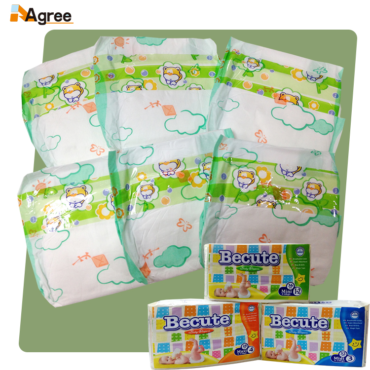 Disposable Baby Diaper, baby diaper Made of PE Film, Nonwoven, Pulp and Japan SAP