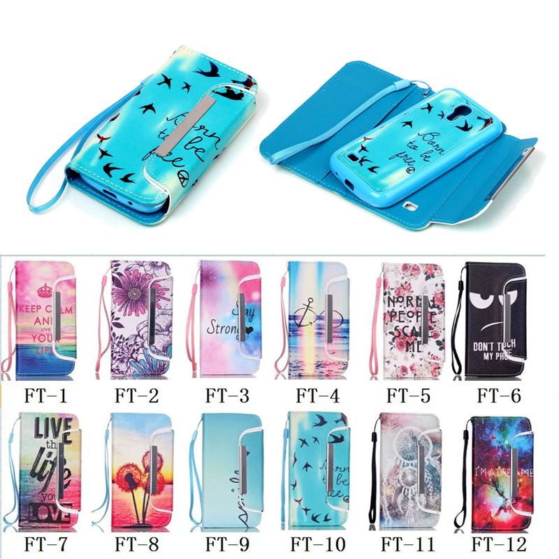For Samsung Galaxy S4 Mini case, Colorful Detachable Leather Case for Samsung S4 Mini with Hand strap