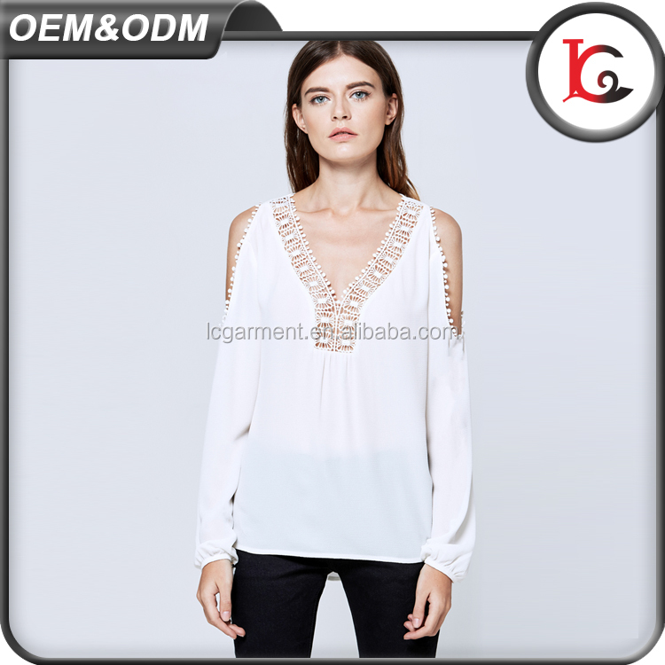 New Products Off Shoulder Lady Blouse White Chiffon Ruffle Blouse Neck Designs Cutting With Lace