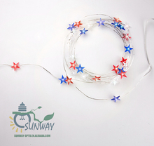 30 LED Red Blue White Star Light String AA battery operated fairy Christmas lights for Holiday party outdoor lumiere decoration