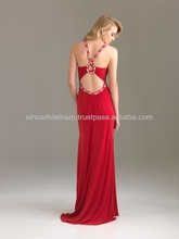 Fitted Column Floor Length Strap Dark Red Sequins Evening Dress Viet Nam