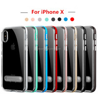 Ultra Thin Clear Hybrid For iPhone X Case with Air Cushion Technology and Kickstand, for Apple iPhone X Kickstand Case