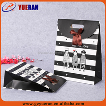 Top quality handmade factory paper custom printing black and white striped gift bags, gift paper bag shoulder length handle