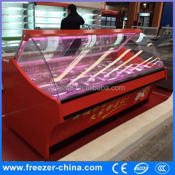 curved glass display refrigerator