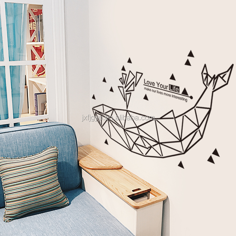 Art decoration abstract painting whales online wall stickers