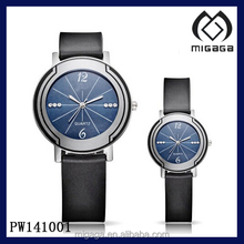 Quartz Wrist Watch with Black genuine leather Strap and Blue Analog Dial