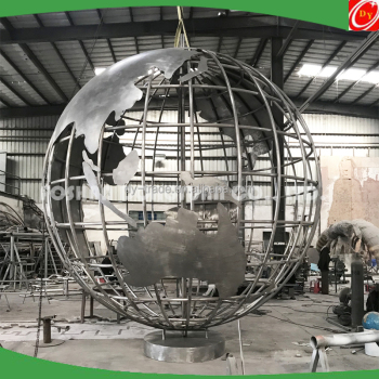 10 Feet Modern Outdoor Landscaping Stainless Steel Globe with World Map for Sale