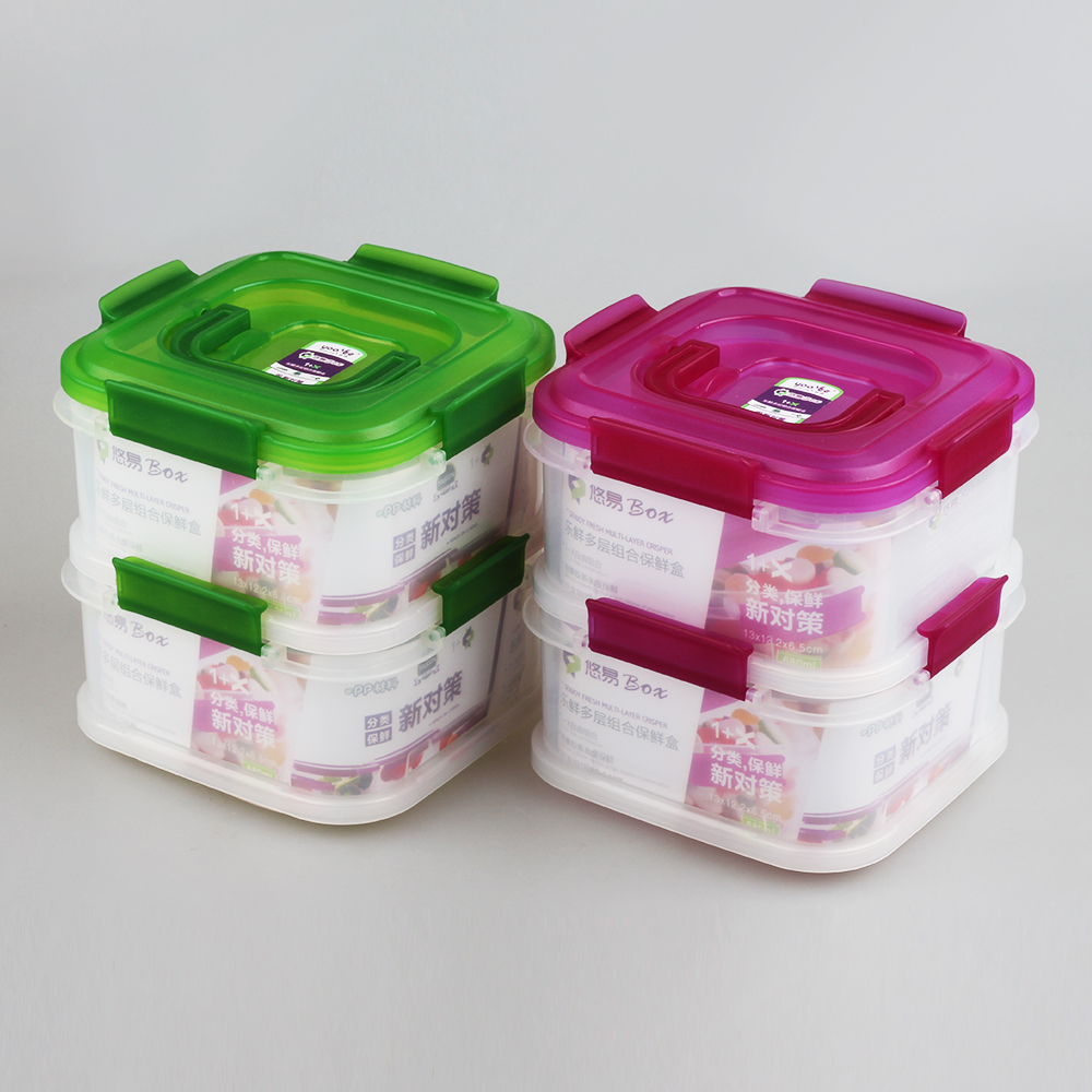 Drop off 20% Wholesale 2 Tier Sealable Plastic Compartment Boxes for Food With Lid and Handle