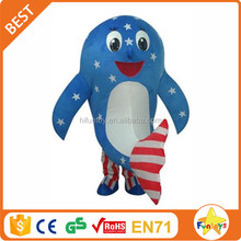 Funtoys CE Blue American National Flag Dolphin Mascot Costume for show