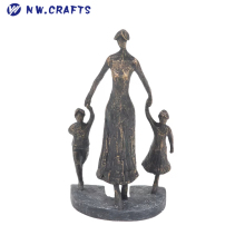 Contemporary Abstract Family Resin Figurine Mother Holding Little Boy and Girl's Hands Sculpture