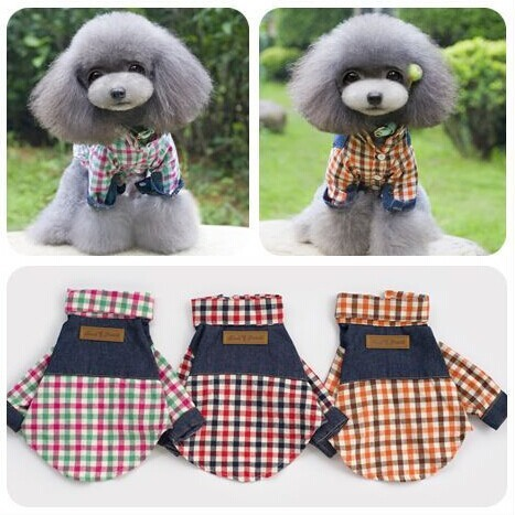 Pet Fashion Plaid Cowboy Shirt Dog Clothes Wholesale Pets And Dogs Products