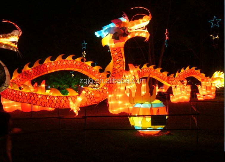 Large lighted dragon lantern