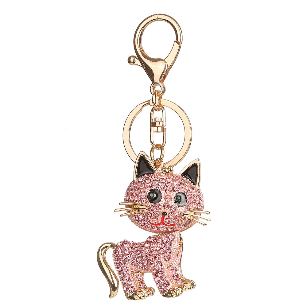 women bag charm rhinestone animal Cat car key chain keyring bag key holder keychains birthday gift souvenir jewelry