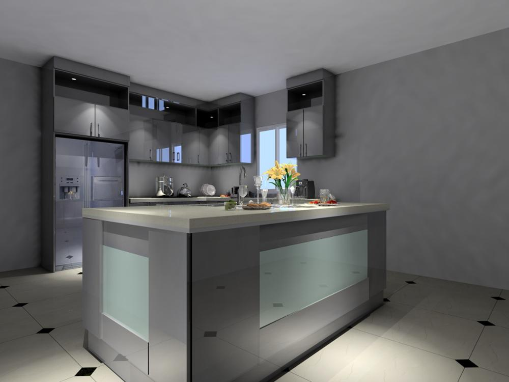 Silver Grey and Dark Black Kitchen Cabinet With Large Sink Island