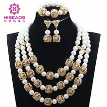 Gorgeous Wedding Shell Pearl Necklace Jewelry Set African White Beads Jewelry Set Women Party Dubai New Set