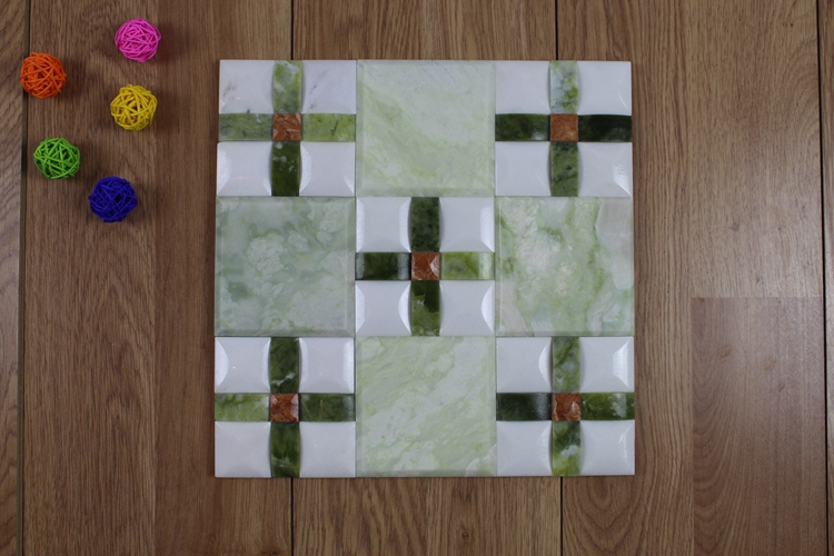 Decorstone24 Mixed Color Green Onyx Mosaic Tile Square Pattern For Wall Decoration