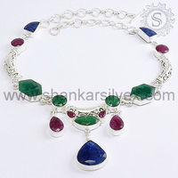 Hot Selling Ruby Emerald Sapphire Indian Silver Jewelry Necklace for Women NKCT1026-1
