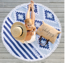 custom design jacquard round beach towel with tassels