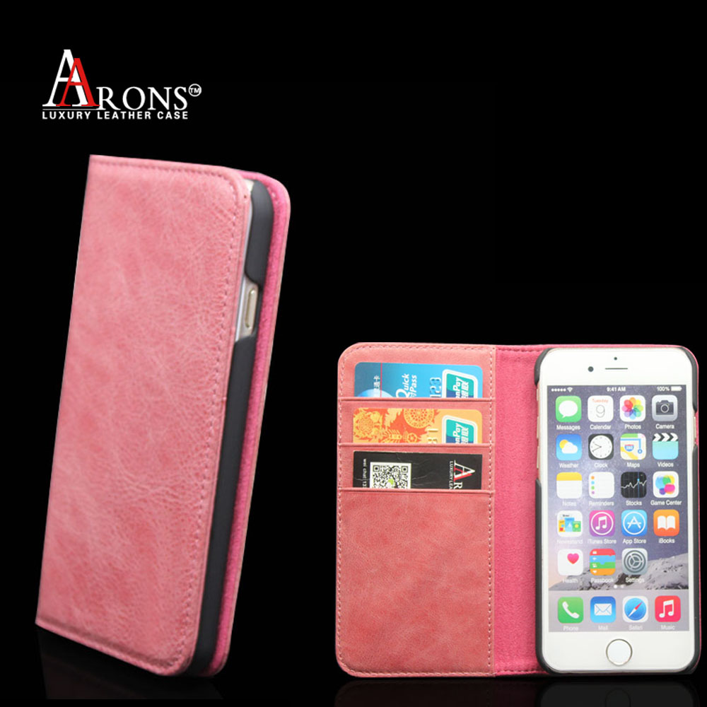 Alibaba wholesale premium genuine cowhide leather wallet stand design for iphone 6s plus case