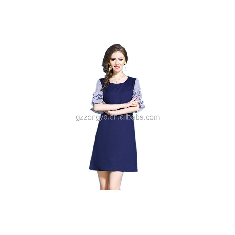 Summer new fashionable lotus leaf sleeve round collar medium woman dress China garment manufacture