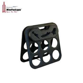 Folding easy storage six bottles wine rack with tools