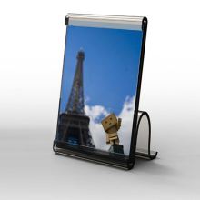 acrylic photo frame with S shape base.