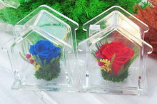 transparent house shape acrylic flower display case perspex desktop gifts packing box wholesale