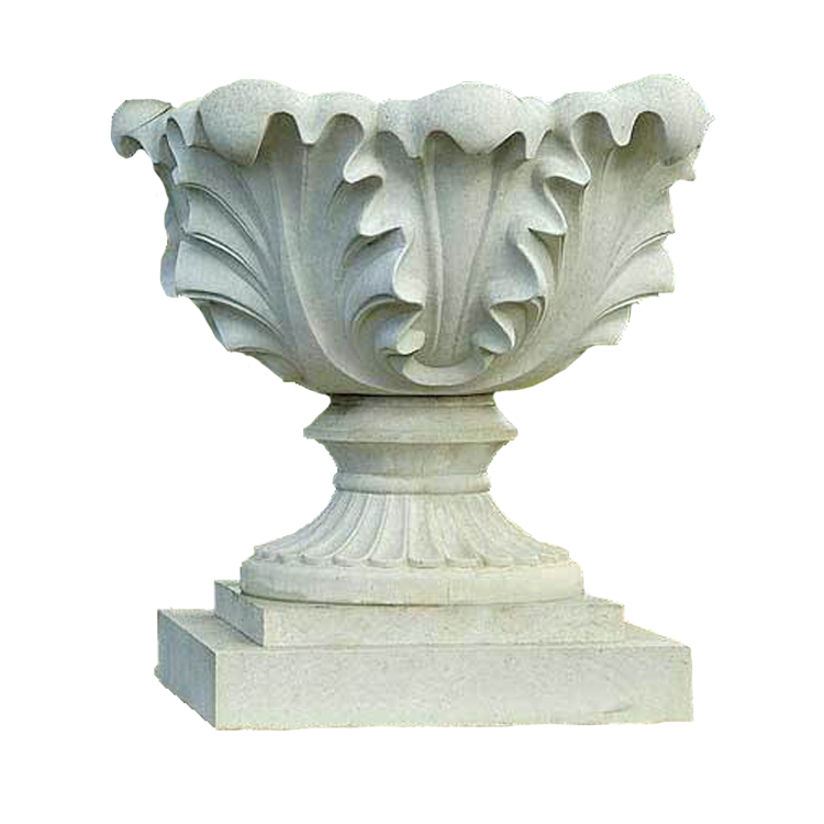 Hot selling life stize tall round marble stone flower pot
