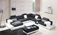 black and white leather sectional sofa set