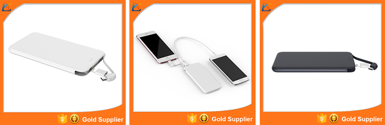 Mini slim universal cell phone with high quality emergency power bank with cable