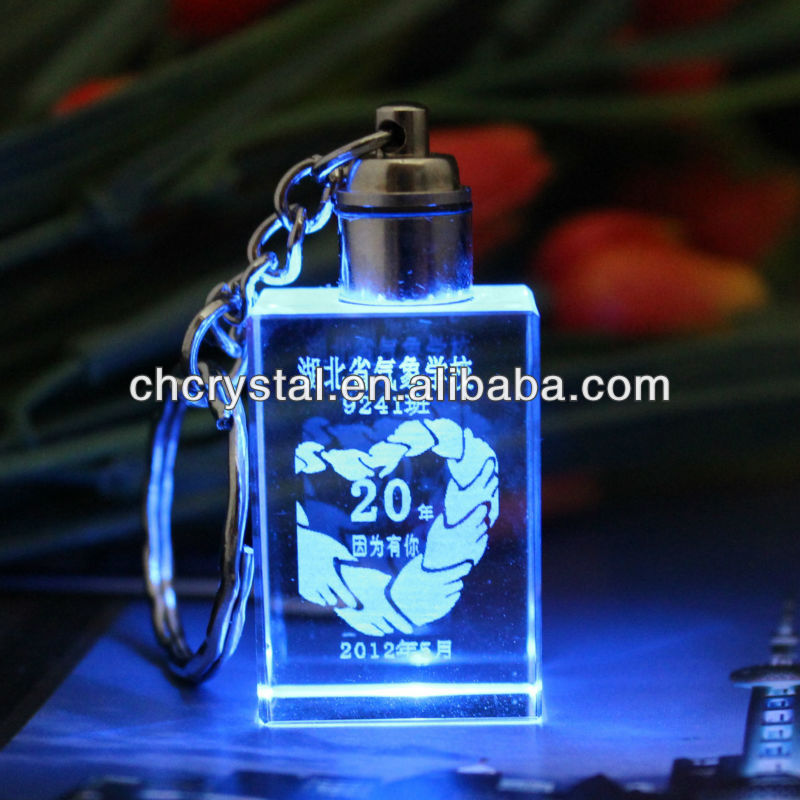 3d laser engraved logo crystal glass keychain , mini key finder electronic key finder MH-YS0395